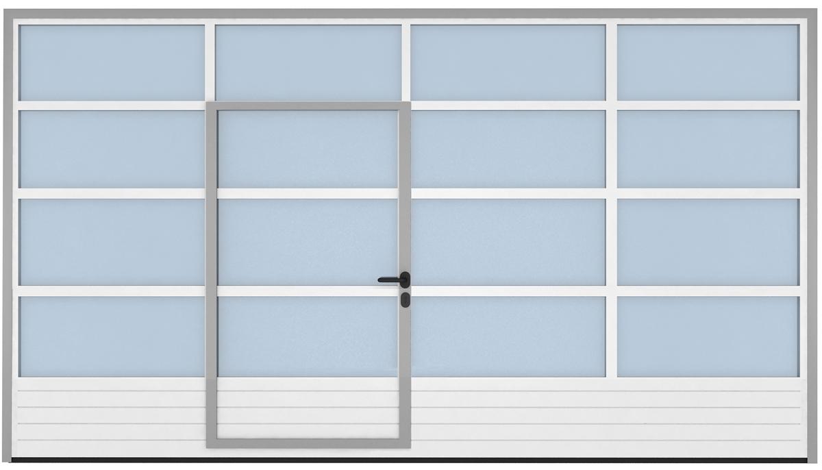 Bramy przeszklone czesciowo ze zintegrowanymi drzwiami
